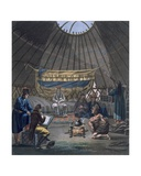 Interior of a Kalmuk Yurt, 1812-13 Print by E. Karnejeff