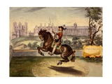 Cavendish Performing Volte, with Bolsover Castle and its Manege Block in the Background, from… Giclee Print by Abraham Jansz. Van Diepenbeke
