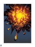 Justice League: Explosion with Meterors Raining Down Prints