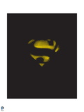 Superman: Superman Logo Negative Space, Yellow on Black Prints