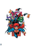 Justice League: Superman, Green Lantern, Batman, the Joker and Harlequin Print