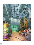 Batman: Inside of a Toy Factory with Machenes and Shelves with Boxes on Them Art