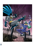 Batman: Batman Swinging on Rope Kicking the Joker in the Face, the Joker Falling Backwards Poster