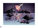 Justice League: Landscape with Mountains and Planets in Background (Color) Posters