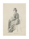 Girl in a Riding Habit Giclee Print by George L. Du Maurier