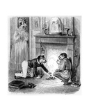 The Monkey and the Cat, Illustration for 'Fables' of La Fontaine (1621-95), Published by H.… Giclee Print by J.J. Grandville