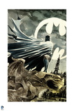 Batman: Watercolor of Batman Crouching on Gargoil Cape Wrapped around Him City Print