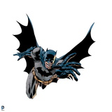 Batman: Batman Jumping with One Arm Outstreched Upwards Cape Flowing around Him and His Mouth Open Prints