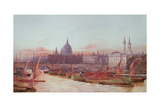 Barges Below London Bridge Giclee Print by Frederick E.J. Goff
