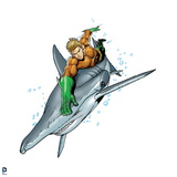 Justice League: Aquaman Riding Hammerhead Shark Prints