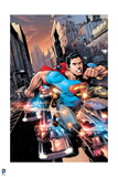 Superman: Superman Escapes Fire, Shot at by Police in City Sreets Posters