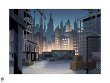 Batman: View of Gotham City from a Construction Site with Crane and Towers in View Posters