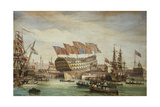 The Launching of Hms Trafalgar at Chatham 26 July 1820, 1836 Giclee Print by C. John Mayle Whichelo
