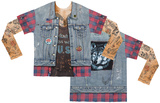 Long Sleeve: Tattoo Jean Vest with Mesh Sleeves Costume Tee T-Shirts