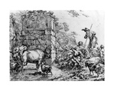 Cows and Goats Drinking at a Pond Giclee Print by Nicolaes Pietersz. Berchem