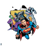 Justice League: Superman, Batman Fighting Joker and Cyborg in the Back Prints
