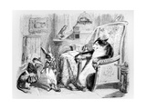 The Cat, the Weasel and the Little Rabbit, Illustration for 'Fables' of La Fontaine (1621-95),… Giclee Print by J.J. Grandville