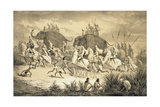 Cavalcade of Sikh Chieftains on Elephants, from 'Voyage in India', Engraved by Louis Henri De… Giclee Print by A. Soltykoff