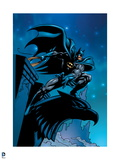 Batman: Batman at Night Half Crouching on Gargoil Art