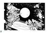 Superman: Space Wallpaper (Black and White) Posters