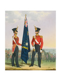 Royal Marines (Subalterns) 2nd Lieutenant Carrying Divisional Colours, Plate 15 from 'Costume of… Giclee Print by L. And Eschauzier, St. Mansion