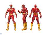 Justice League: The Flash; Front, Side, and Back View Prints