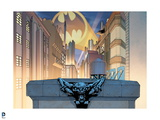 Batman: View of Gotham City with Buildings on Either Side and Bat Signal Shining Overhead Prints