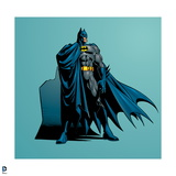 Batman: Batman Standing Heroicly with Cape Covering One Side and His Shadow Behind Him Posters