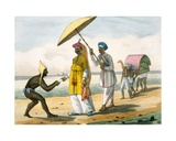 Paleagar Delivering a Letter to Grandees on a Beach, 1827-35 Giclee Print by M.E. Burnouf