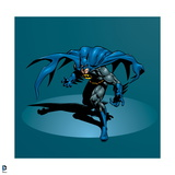 Batman: Batman Crouching Forward with Arms Out on Either Side and Cape Billowed Behind Him Prints