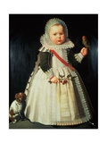 Portrait of a Young Boy Holding a Parrot Giclee Print by Wybrand Simonsz. de Geest