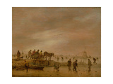 Winter Landscape with a Horse-Drawn Sleigh, 1645 Giclee Print by Jan Josephsz. Van Goyen