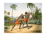 Wrestlers with Weapons, 1827-35 Giclee Print by M.E. Burnouf