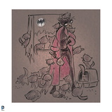 Batman: Sketch of Catwoman in Pink Bathrobe with Cats Climbing All over Her Prints
