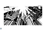 Batman: Black and White Image of Gotham City Looking Up with Very Tall Buildings Above Posters