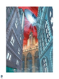 Batman: View of Buildings on Either Side with a Blimp Shining Light Down on the City from Above Prints