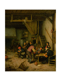 Tavern with Tric-Trac of Backgammon Players, 1669/74 Giclee Print by Adriaen Jansz. Van Ostade