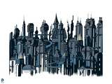 Batman: Image of Gotham City from the Side with Lights on in Buildings Posters