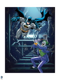 Batman: Batman Jumping Forward The Joker Stands to Side with Giant Mallet Raised Above His Head Prints