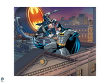 Batman: Batman with Hands in Fist Moving Up to Punch the Penguin in the Chest Prints