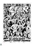 Justice League: Cover Inking for All Star Comics, the Justice Society Fights for a United America Art