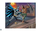 Batman: Batman Jumping from the Roof of a Building About to Punch Man Bat Who Has His Claws Out Posters