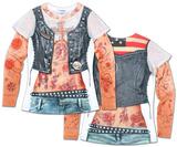 Juniors: Tattoo with Mesh Sleeves Costume Tee T-skjorte