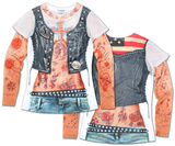 Juniors: Tattoo with Mesh Sleeves Costume Tee Shirts