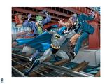 Batman: Batman Jumping Forward Punching at Two Face the Joker Is Jumping Up Behind Prints