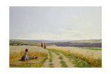 Girl in the Fields Giclee Print by Jean F. Monchablon