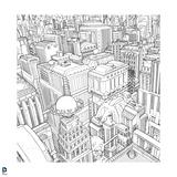 Superman: Birds Eye View of Metropolis (Black and White) Prints