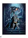 Batman: Batman with Hand Raised Above His Head Punching the Penguin in His Stomach in the Batcave Posters