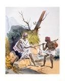 A Thief Ambushing a Passer-By, 1827-35 Giclee Print by M.E. Burnouf