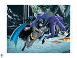 Batman: Batman Jumping Up Punching The Joker in the Back While Joker Is in Midair Cave Print